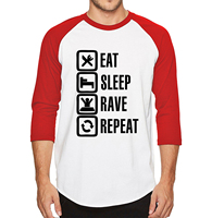 Mens 2017 New Hot T Shirts Eat Sleep Game Repeat Tshirts 100% Cotton High Quality Three Quarter Sleeve Fashion Casual T-Shirt