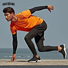 Men Sportswear Black Gray White Tracksuit Man Elastic Refective Gym Workout Clothes Breathable Jogging Training Running Set Male