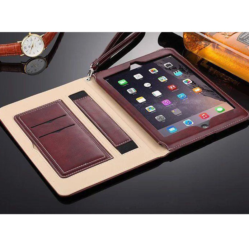Case for iPad Air 2 Air 1 Smart PU Leather Sleeve Business Wallet Style Flip Stand Cover with Lanyard for ipad mini 4 Case