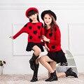 Crianças Meninas Outono Crianças Nova Primavera Camisola de Gola Alta da Camisa Dois-peça Ternos de Roupas Crianças Estrela Do Coração Dois Estilo Preto vermelho
