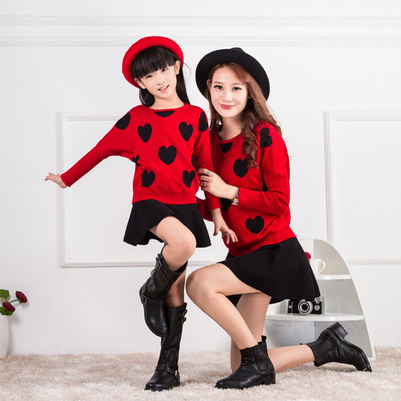 Kids Girls Autumn Children Spring New Turtleneck Sweater Shirt Two-piece Kids Clothing Suits Heart Star Two Style Black Red new style 0382 star red