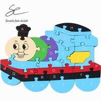 2017新しい子供のパズル漫画のパズル幼児教育列車トーマスカラフルな3d英語デジタルおもちゃ