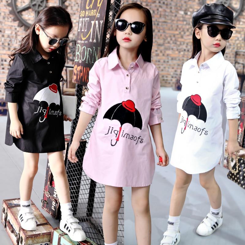Girls Long Sleeve Blouse Fashion Umbrella Printed White Pink Black Cotton Shirts For Kids Dress Shirt Big Girl 3 - 14 Years Old alfani new pink black women s size small s ethnic swirl printed blouse $29 104 page 5