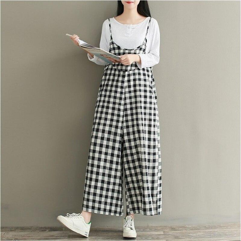 2018 Camis Plaid Rompers Overalls Women Loose Cotton Linen Jumpsuits Female Casual Long Trousers Wide Leg Pants Plus Size AB875