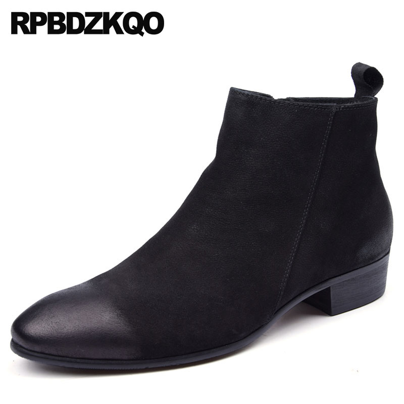 Chunky Faux Fur Plus Size Winter Full Grain Leather Black High Quality Square Toe Mens Zipper Dress Boots Formal Shoes Ankle faux leather embossed panel formal shoes page 1