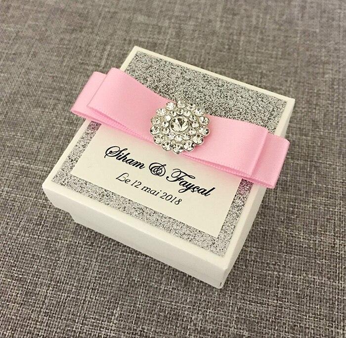 CA0805 DIY Silver Glitter Square Wedding Favor Gift Box