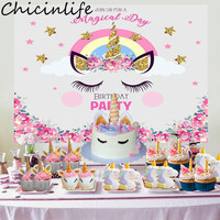 Chicinlife 1Set Unicorn Photography Backdrops Bithday Party Baby Shower Wedding Unicorn Party Photo Background Decor Supplies