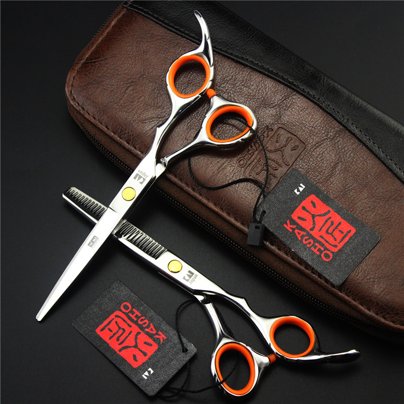 kasho 6 inch Overall Length 2pcs Thinning/Cutting Head Shears Set Hairstylist Hair Dresser Stainless Steel High Quality
