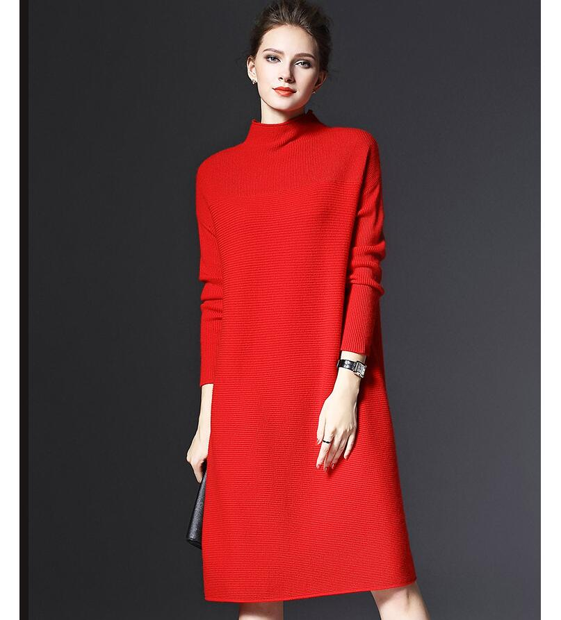 Plus Size Winter Women Fashion High Collar Loose Knitted Dress Casual Long-sleeved Slim Sexy Christmas Sweater Dress