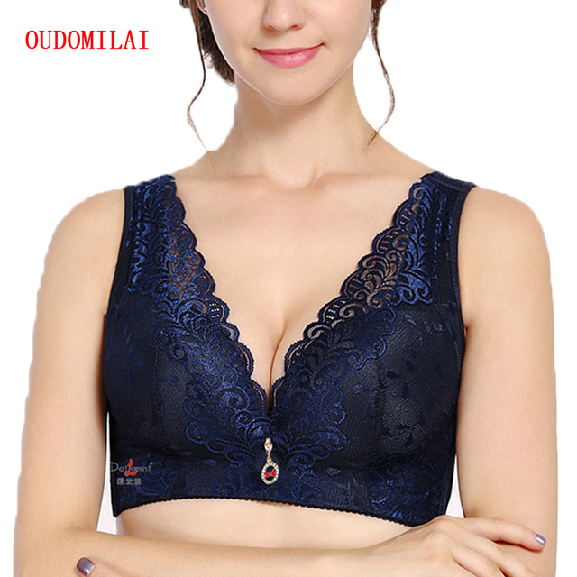 56686e82c39 OUDOMIALI Wireless Bras For Women Underwear Wide Soft Wire Free Bh Push Up  Bra Big Size Deep V Sexy Lace Bralette Plus Brassiere