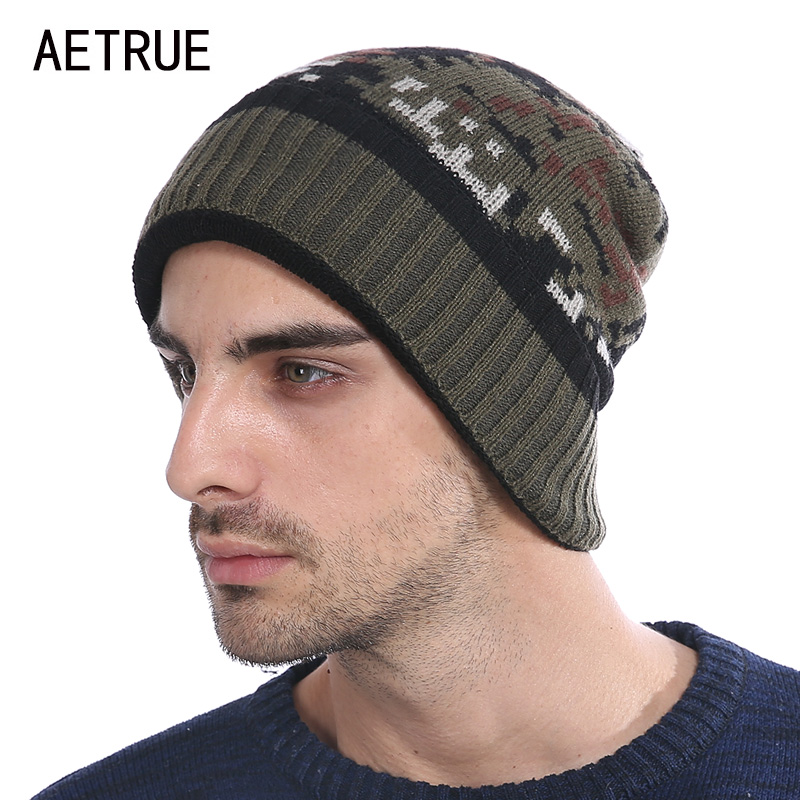 Skullies Beanies Men Knitted Hat Winter Hats For Men Women Camouflage Bonnet Caps Gorros Brand Warm Fashion Winter Beanie Hat skullies