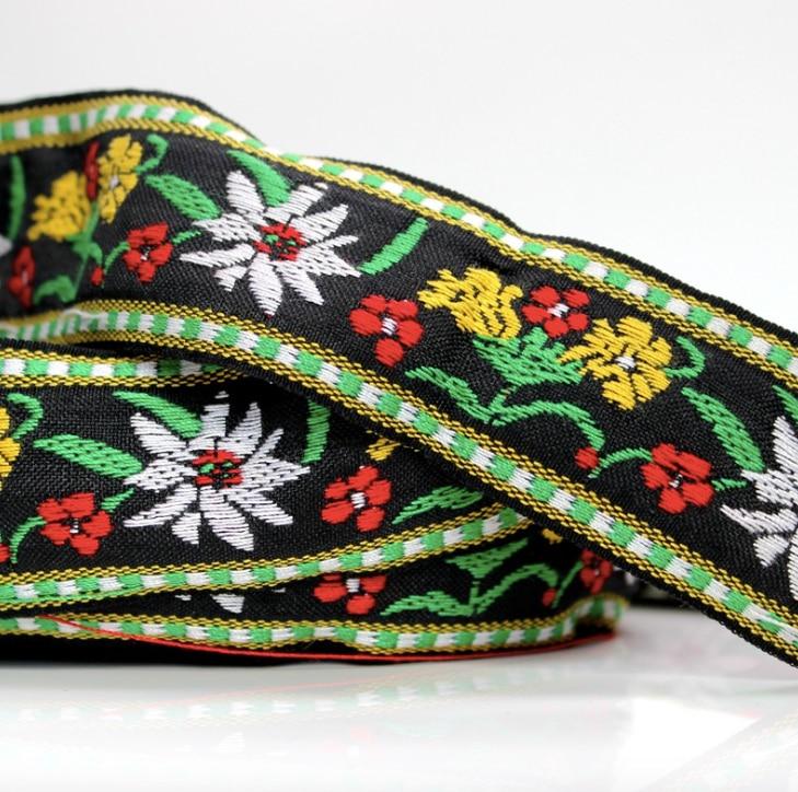Gemotiveerd Diy Borduurwerk Etnische Jacquard Singels Geweven Tape Lint Trim 4.2 Cm Kledingstuk Accessoire Decoratie Tribal Boho Gypsy Bloemen