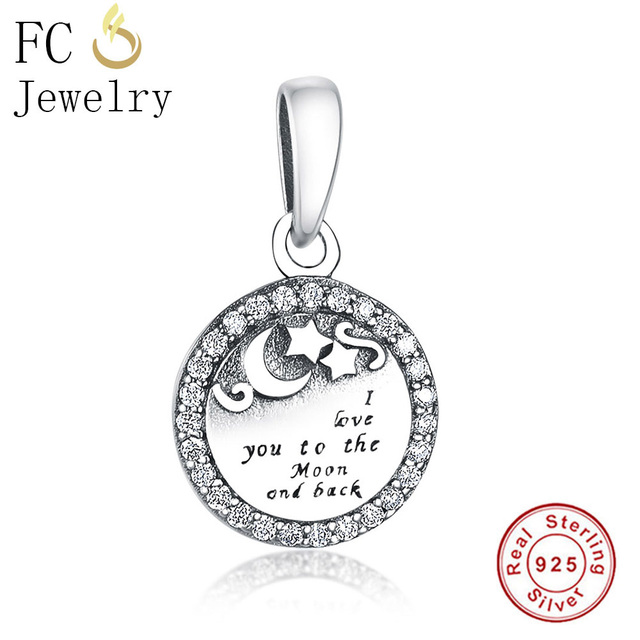 877b2ef1c047e US $4.97 45% OFF|FC Jewelry Fits Original Pandora Charms Bracelets 925  Silver I love you to The Moon and back Beads DIY Making Berloque  Valentine-in ...