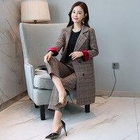 Plus size Long blazer Coat Pant Suits Women Plaid Office Business Suits Formal Work Wear Sets England Styles Women 2 Pieces set