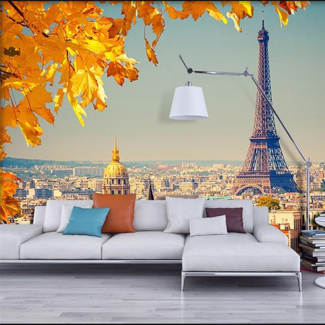 Nach 3d Wandbild Tapete Fur Wand Stroh Europaische Stadt Eiffelturm