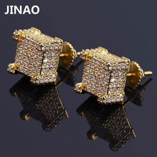 dc1f03218 JINAO Hip Hop New Fashion Iced Out Bling Stud Earrings Gold Color Micro Pave  Cubic Zircon Square Stud Earring For Men & Women