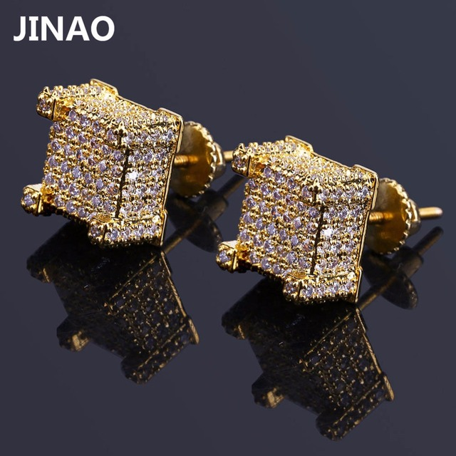 a754963d9 JINAO Hip Hop New Fashion Iced Out Bling Stud Earrings Gold Color Micro Pave  Cubic Zircon