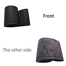 sikan,Positive super fiber leather, reverse suede hand sewing car steering Covers sets for four seasons, suitable 38 centim