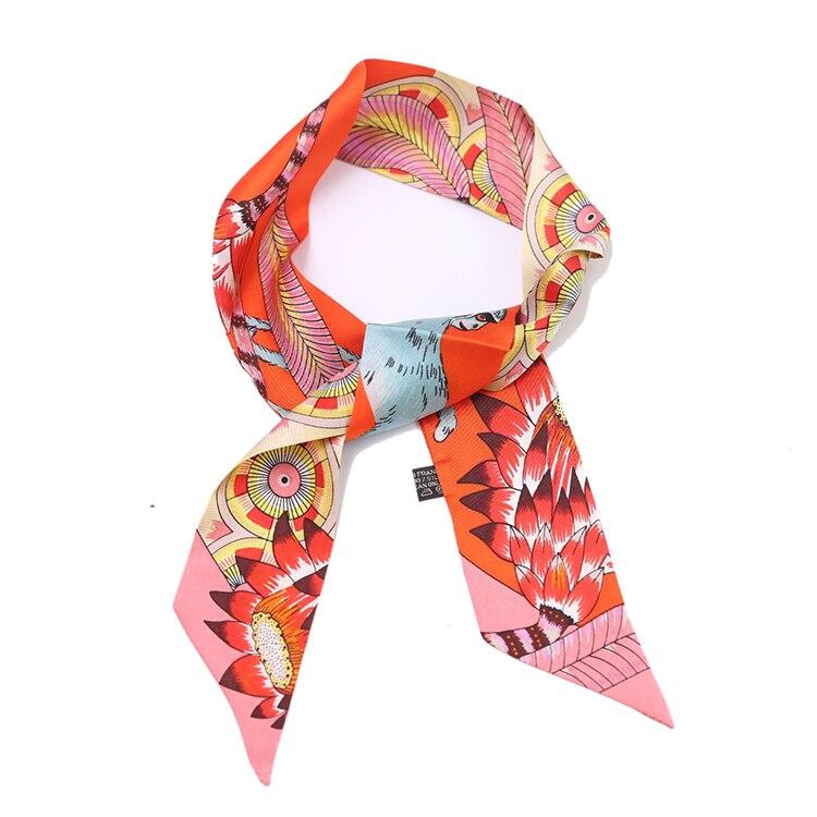 Women/'s Printed Silk Scarf Neck Head Bag Wrist Ribbon Scarves Headband Hairbands