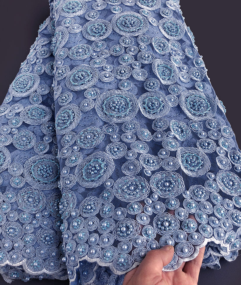 wow handwork lace very Heavy African french lace wedding tulle fabric for big occasions 5 yards per piece