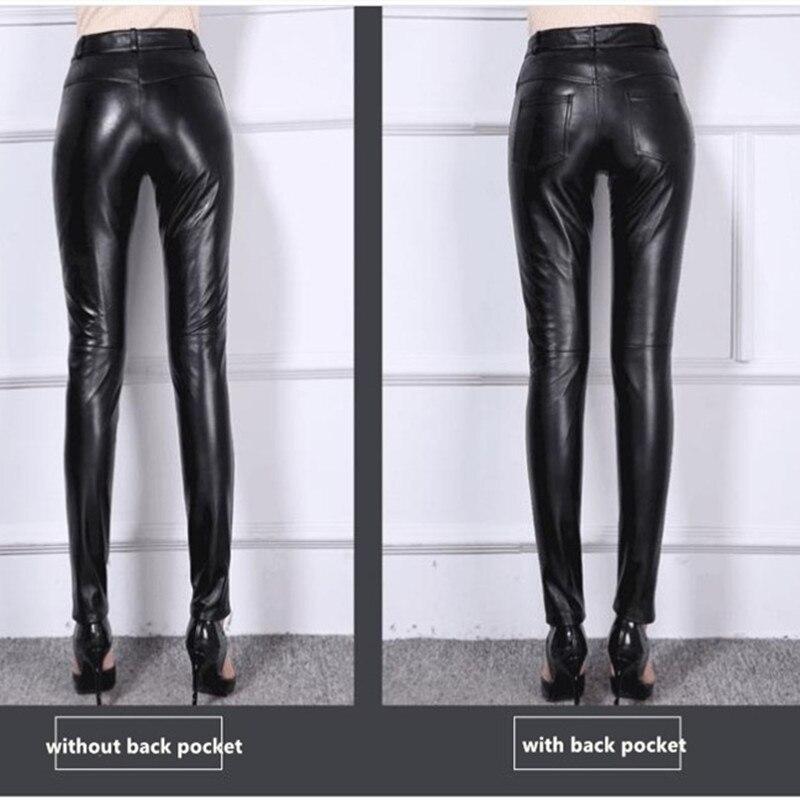 Pantalons en cuir véritable noir pour femmes printemps et automne pantalons en cuir véritable en peau de mouton OL Show pantalons Leggings Slim de bottes - 5