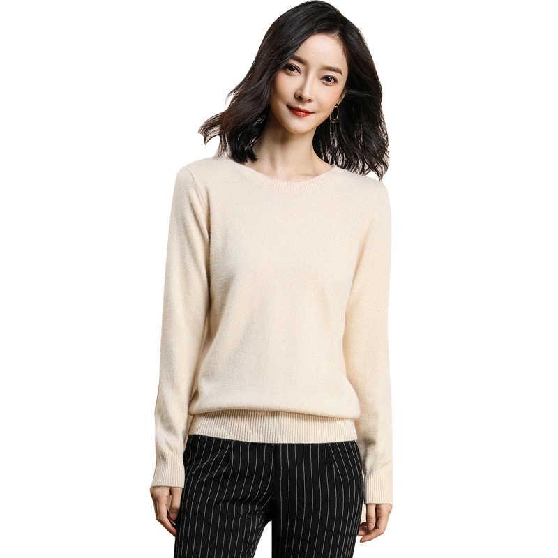 GejasAinyu autumnwinter סוודר נשים 2018 נשים קשמיר סוודר נשים סוודרים סרוגים עגול צוואר סוודר חולצות בתוספת גודל למשוך