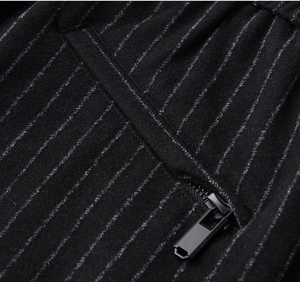 Image 5 - Pantalones para hombre de Primavera de linglu de talla grande 4xl de lana de moda teñida a rayas verticales para hombres pantalones elásticos de cintura bordada pantalones flacos
