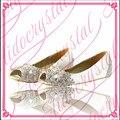 De lujo Peep Toe zapatos de novia rhinestone blanco zapatos cristalinos de la boda zapatos planos de la boca baja talón plano planos zapatos de las mujeres