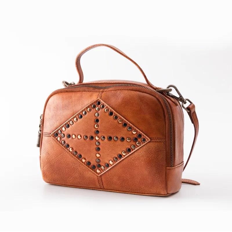 все цены на Hand Painted Designer Genuine Leather Women Small Sling Bag Lady Studs Handbag Zipper Closure Cowhide Female Cross Shoulder Bag онлайн