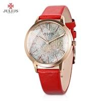 Julius JA 977 Women Simple Quartz Watch Leather band Shiny Star Dial Analog Watches