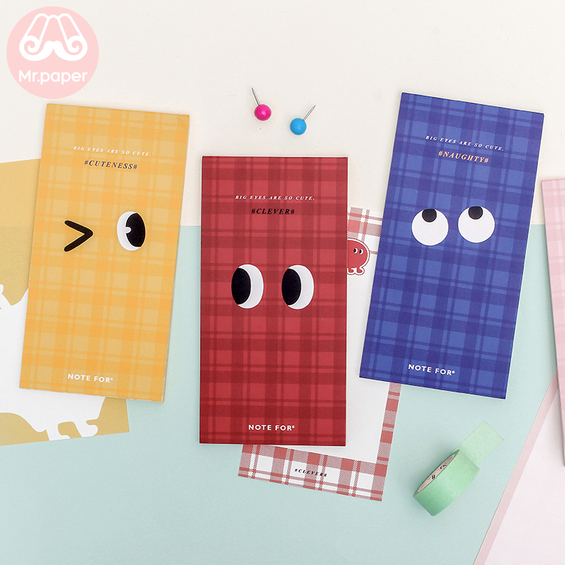 Mr Paper 24pcs/lot 16 Designs Cute Big Eyes Kawaii Duke My Animal Friends Memo Pads Creative Minimalist Loose Leaf Memo Pads