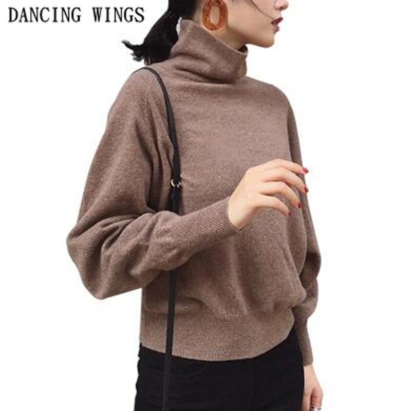 Осенне зимний шерстяной свитер, свободный Женский пуловер с высоким воротом, Однотонный женский вязаный джемпер