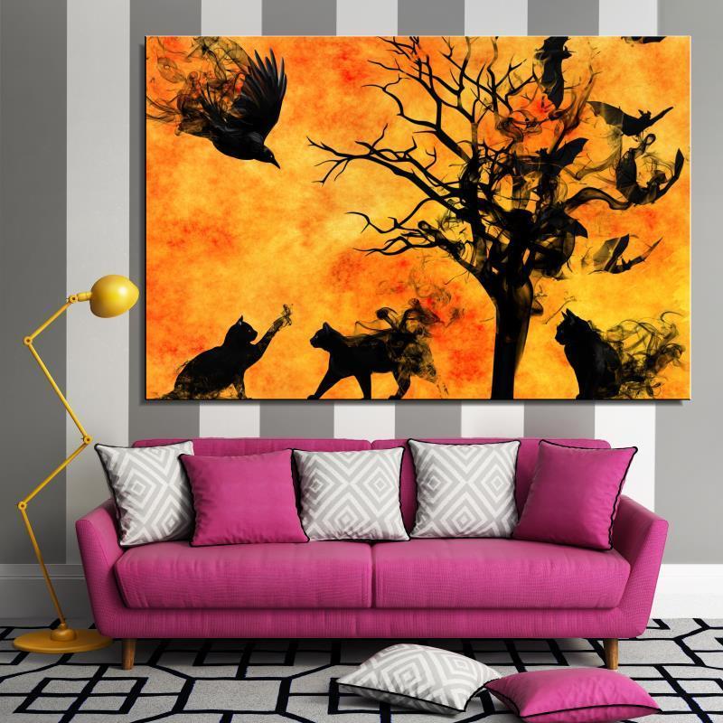 Gato del árbol pájaro Bate surrealista Aerosol Animal Sin Marco Abstracto Sin Marco Pintura Al Óleo digital de la Lona de decoración del Hogar ...