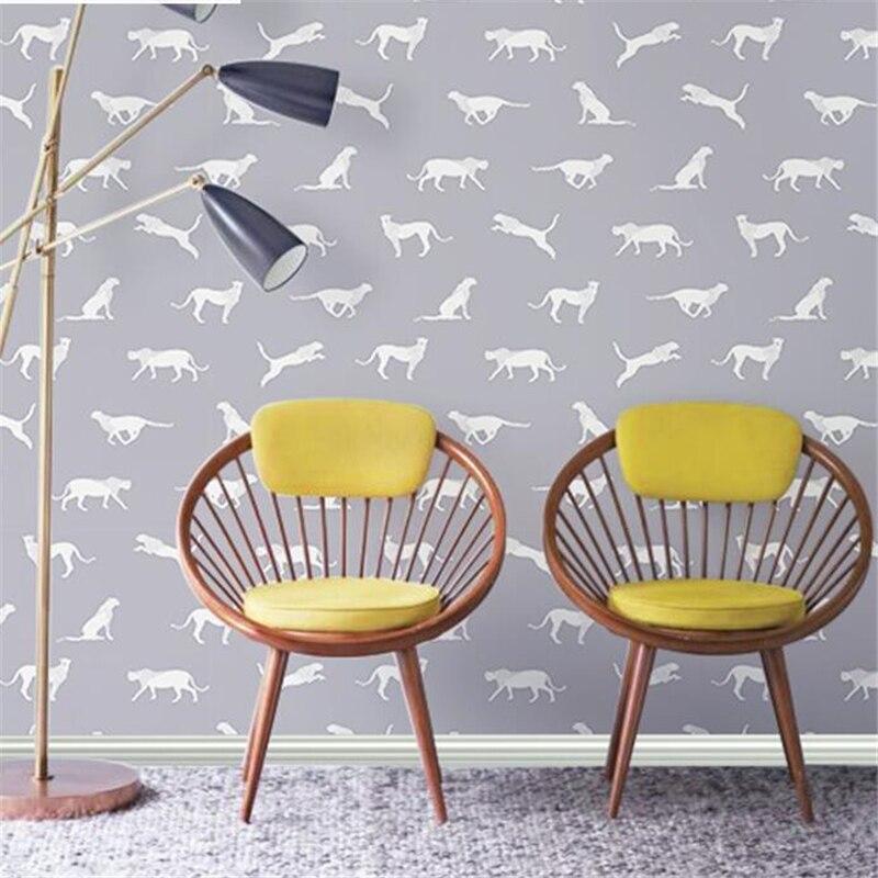 beibehang Nordic ins wallpaper leopard jaguar living room bedroom porch clothing store modern minimalist restaurant wallpaper