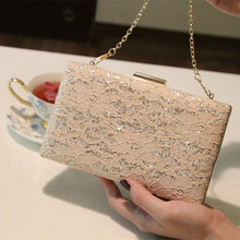 Fashion Women Lace Evening Party Bags Bling Shimmering Cheap Lady Day Clutch Dinner Purse Wedding Bride HandBag