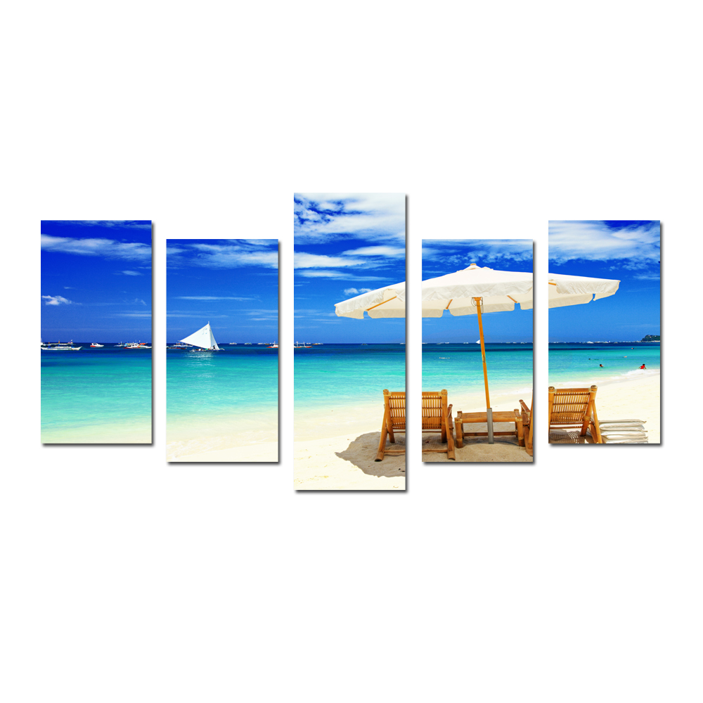 Holiday seascape artwork photograph printing canvas beach canvas wall paintings for living room scenery photo canvas printing in painting calligraphy from