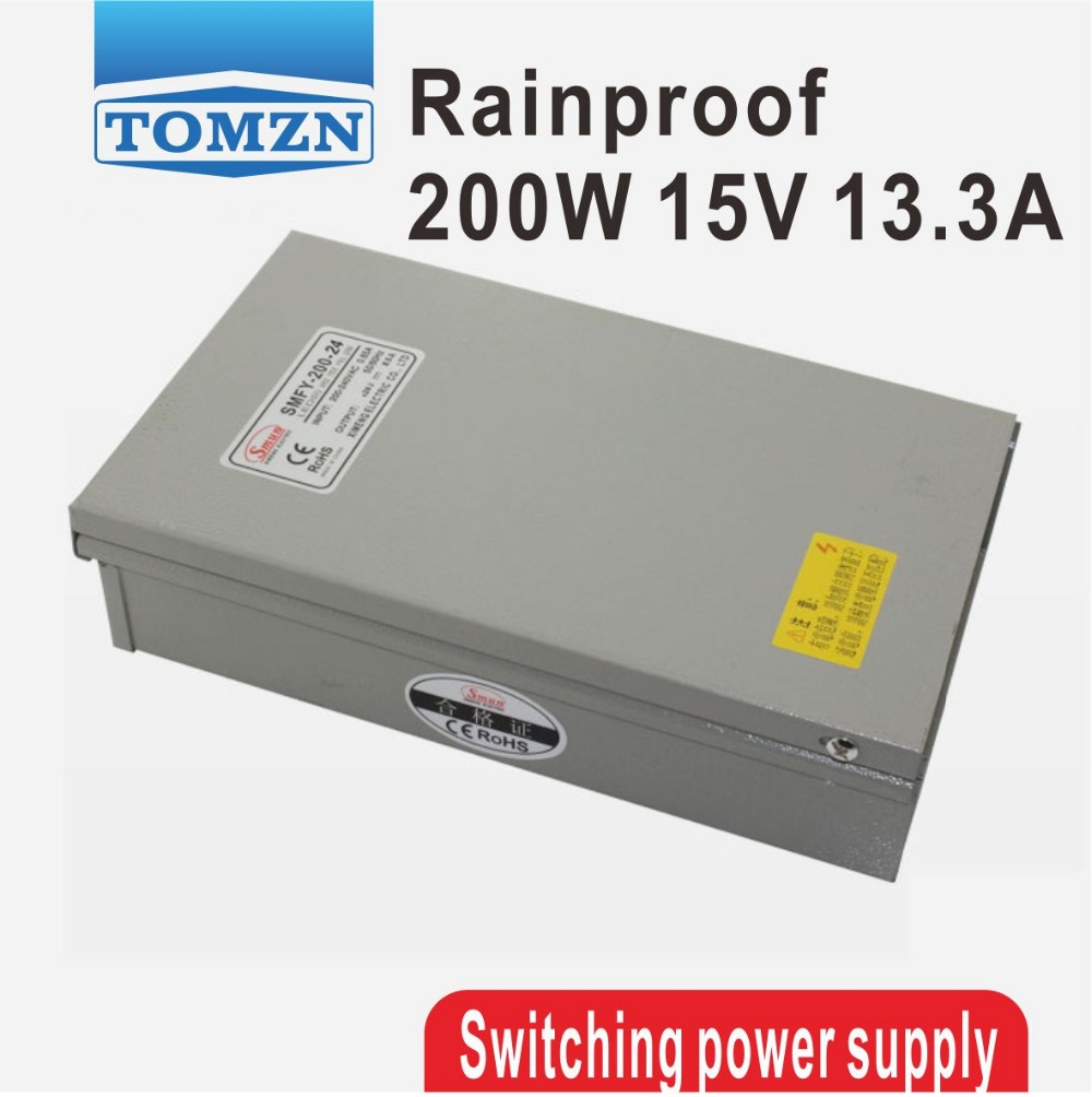 200W 15V 13.3A Rainproof outdoor Single Output Switching power supply smps AC TO DC for LED 60w 24v 2 5a rainproof outdoor single output switching power supply smps ac to dc for led