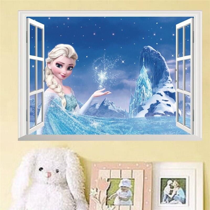 Cartoon Magical Anna Princess 3d Window Wall Stickers Home Decoration Frozen Anime Mural Art Kids Room Wall Decals Movie Poster
