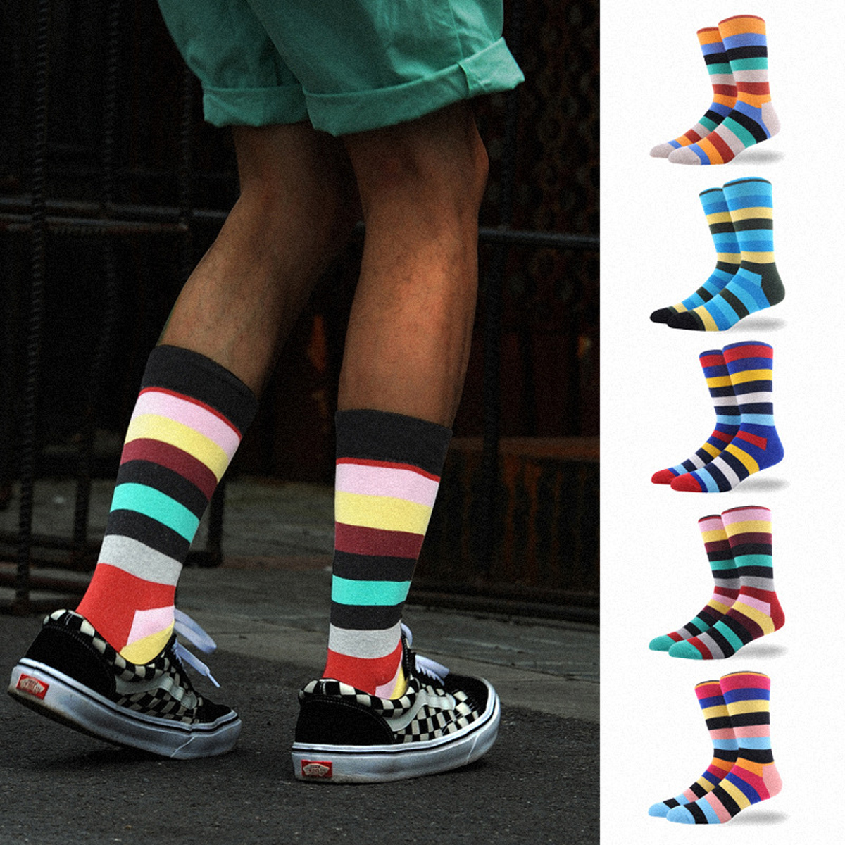 12Pairs Vintage Stripe Meias Creative Happy Socks Funny Sock Business Skateboard Calcetines Hombre Hip Hop Socks Mens Weed Socks