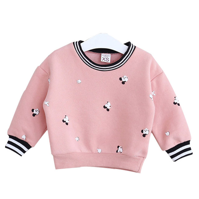 Korean High-quality Children Plus Velvet Thickening Cartoon Printing Fleece Clothing Fashion Long-sleeve Girl Sweatshirts Coat