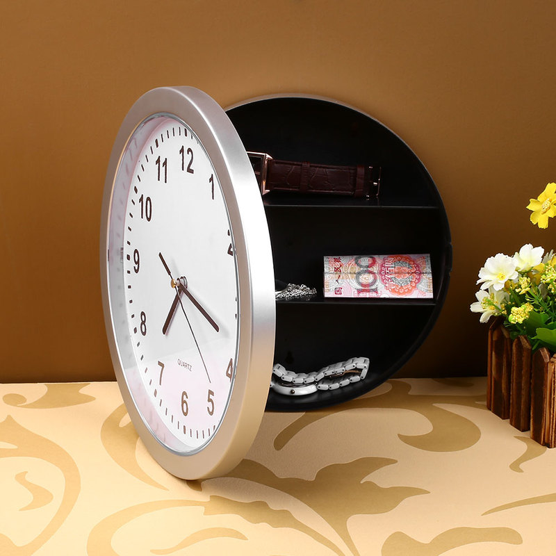 2 In 1 Hidden Secret House Storage Wall Clock Home Decroation Office Security Safe Money Stash Jewellery Stuff Container Clock