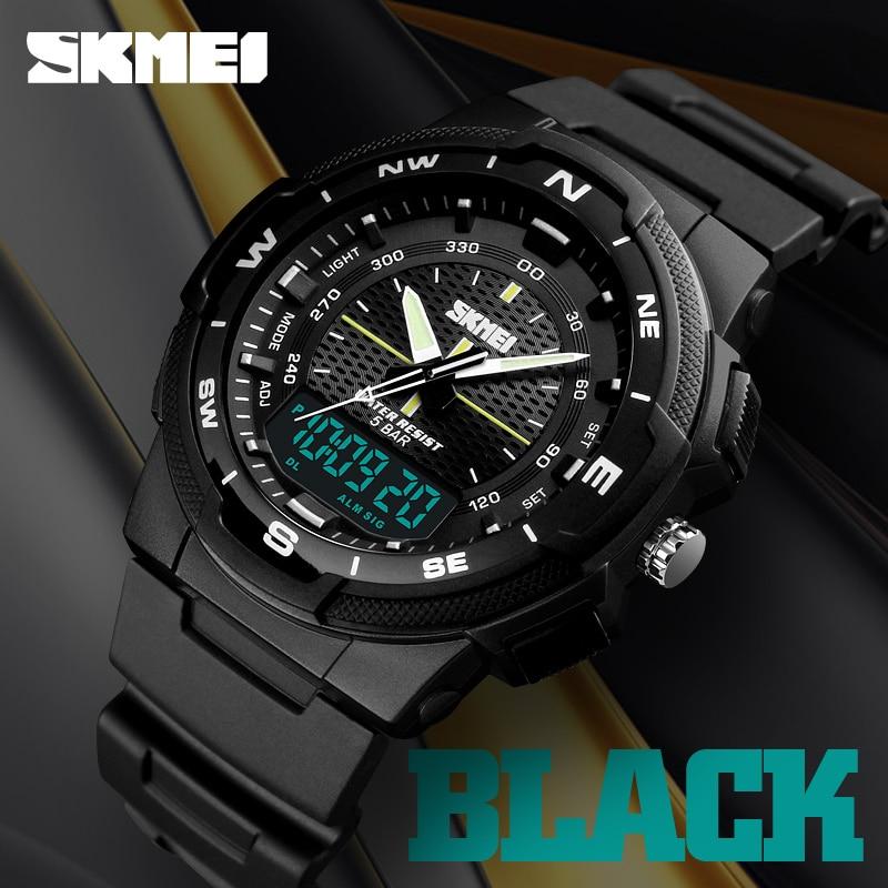 SKMEI Dual Display Quartz Watch Men Outdoor Sports Watches Digital Electronic Men Watches Waterproof Top Brand Luxury Male Watch|Quartz Watches| |  - title=
