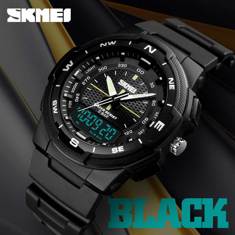 SKMEI Dual Display Quartz Watch Men Outdoor Sports Watches Digital Electronic Men Watches Waterproof Top Brand Luxury Male Watch