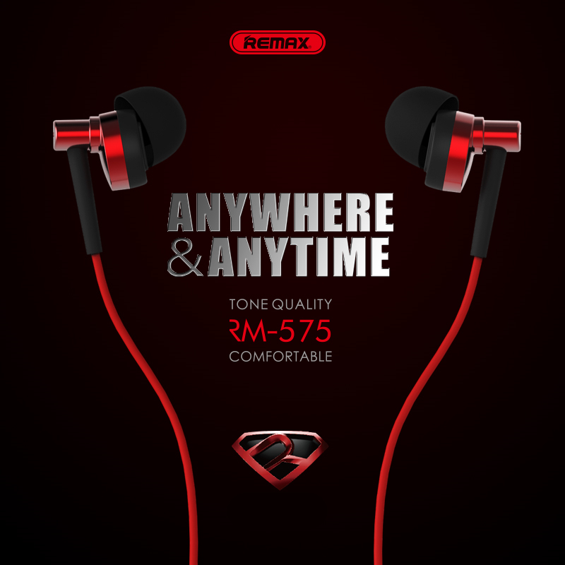 Remax 575 pro HD Earphone In Stock with Mic Remote  HiFi Stereo Sound Music Earbud Headsetfor Xiaomi Redmi Red Mi Mobile Phone original xiaomi hybrid earphone units with mic remote in ear hifi earphones with mic circle iron mixed for xiaomi redmi mobile