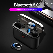 ROCK Bluetooth 5.0 Earphone HBQ TWS Wireless Sport Handsfree Earbuds 3D Stereo Gaming Headset With Mic 1500mAh Charging Box(China)