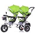 Venda quente Crianças Da Segurança Do Bebê Assentos Duplos Gêmeos Carrinho De Criança Carrinho De Bebê Gêmeos Carrinhos Tandem Triciclo Cesta Dobrável À Prova de Choque