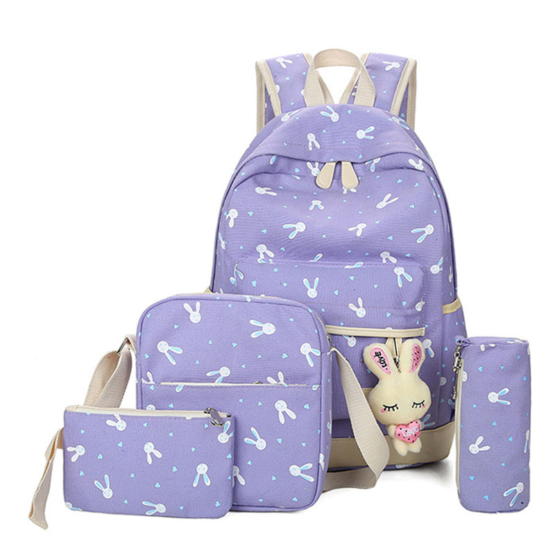 4pcs/sets  Cartoon Rabbit Printing School Bag Canvas Schoolbags For Teenage Cute Girls Bookbag Children