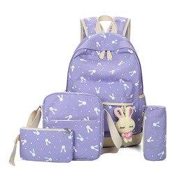 4Pcs/Sets 2019  Cartoon Rabbit Printing School bag Canvas Schoolbags for Teenage Cute Girls Bookbag Children