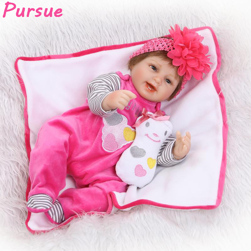 Pursue 17/43 cm Lovely Real Silicone Doll Reborn Baby Alive Soft Vinyl Silicone Reborn Babies for Sale Play Mate Reborn Doll
