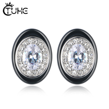 2019 New Fashion Egg Shape Earrings AAA Cubic Zirconia Stone Stud Earrings For Women Ceramic Elegant Wedding Jewelry Gift недорого
